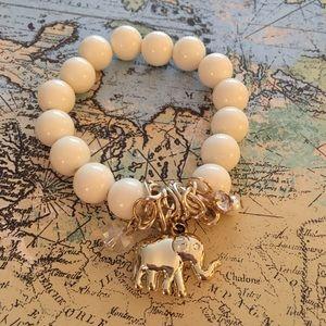 Gold Elephant White Beaded Stretchy Bracelet